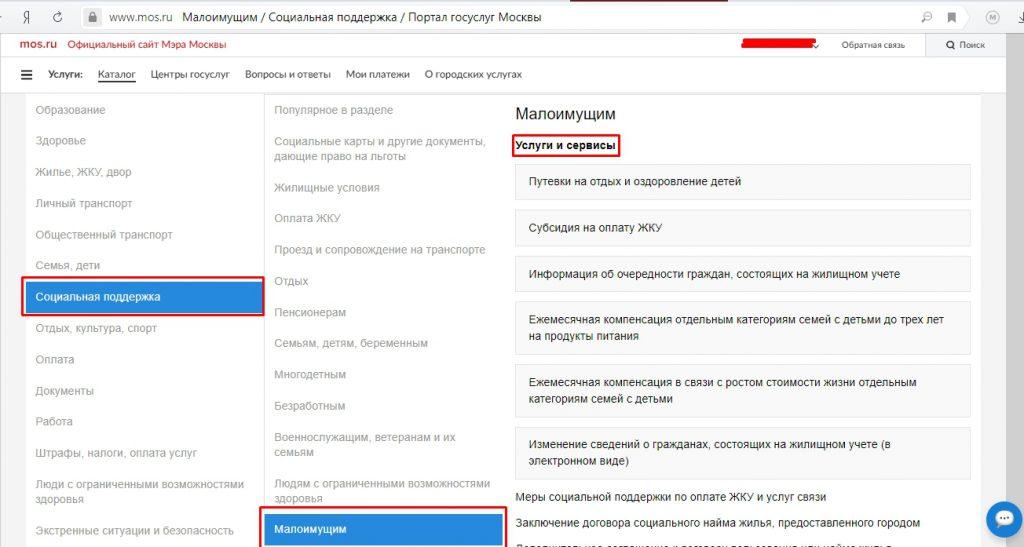 Выбор услуги в mos.ru